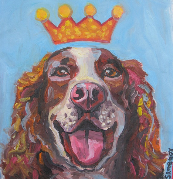 Smiling Spaniel with a Crown Original Painting