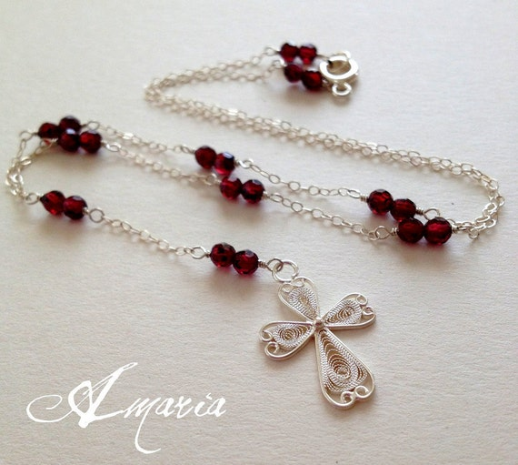 Garnet cross necklace by amaria on Etsy from etsy.com