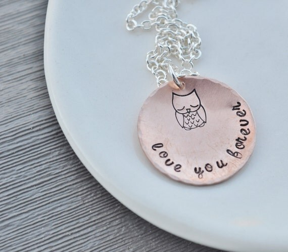 Owl Love You Forever - Hand Stamped Copper Necklace