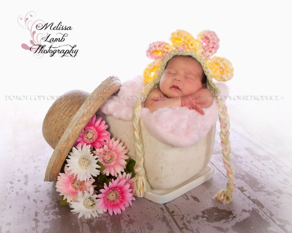 Baby Flower Bonnet- Pink, Green, Yellow