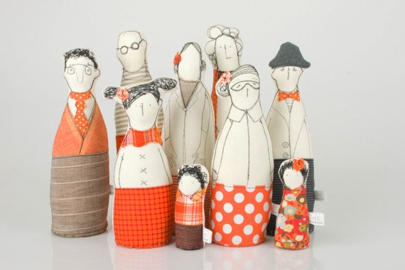 Family -  grandparents, parents ,uncle  and and children dressed in Orange and beige  , stripes   and polka dots -handmade fabric dolls