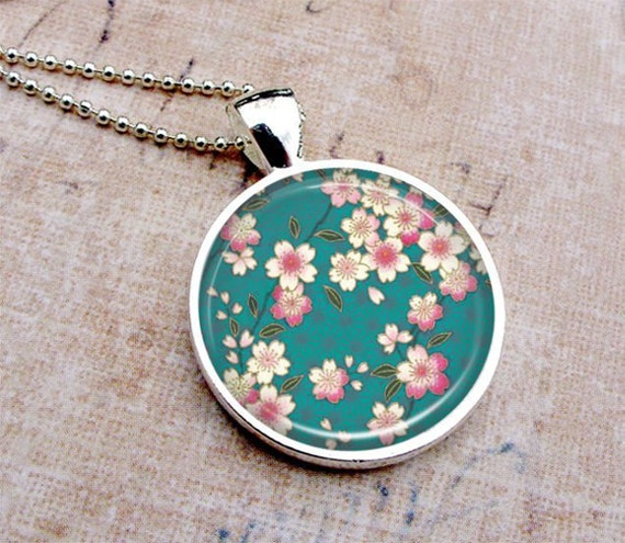 Floral Asian Art Necklace - Pink Flowers Teal - Glass Dome Pendant Silver, Picture Pendant, Photo Pendant, Art Pendant by Lizabettas