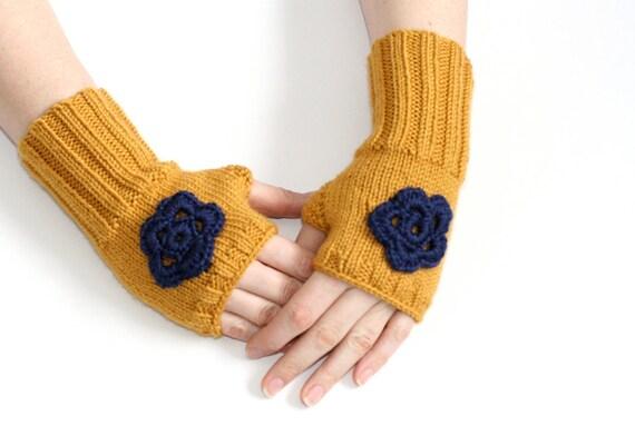عسل زرد fingerless دستکش / گرم مچ دست قلاب دوزی با گل خاکستری