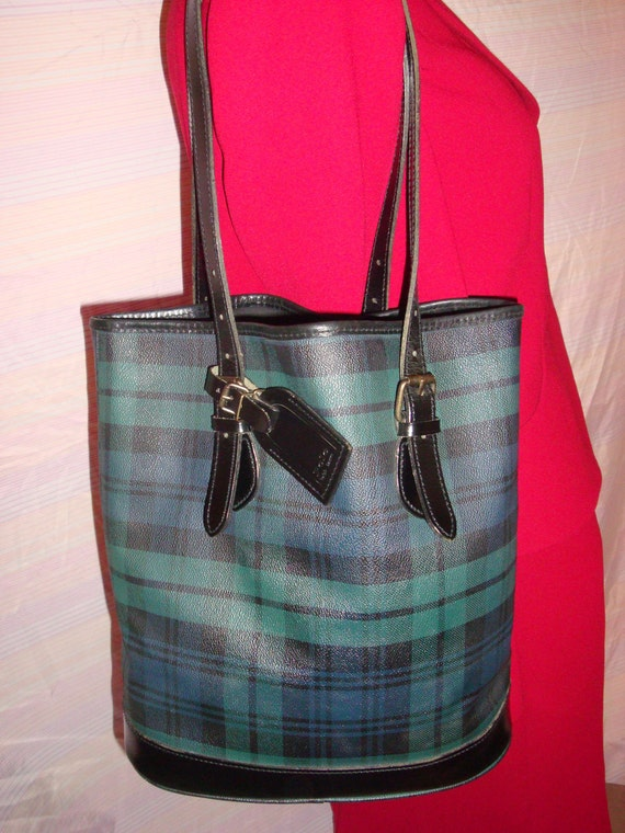Classic Polo Ralph Lauren Black Watch Tartan Plaid Canvas Bucket Tote w/Adjustable Buckled Leather Straps