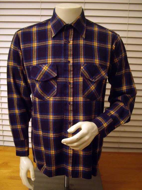 Archival Flannel Plaid Button-Up Shirt -- Medium/Large -- Winter Weight