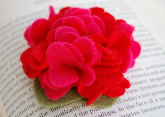 Bright Pink and Red Bloom Felt Clip or Headband Perfect for Valentines Day