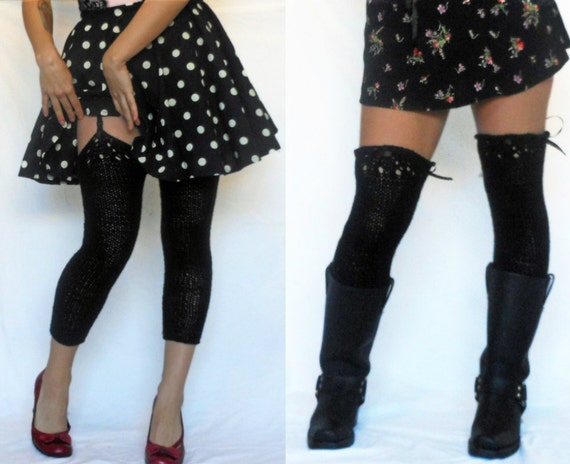 Miss Sexy Legs black knit legwarmers, leggings, with lace detail, ribbon, bow, black and sparkly, hook to your garter belt, so many choices
