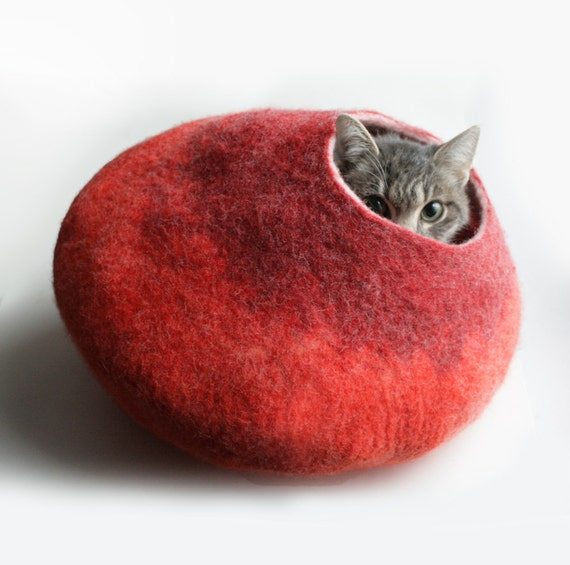 Warm Orange Red Bubble - Hand Felted Wool Cat Bed / Vessel - Crisp Contemporary Design