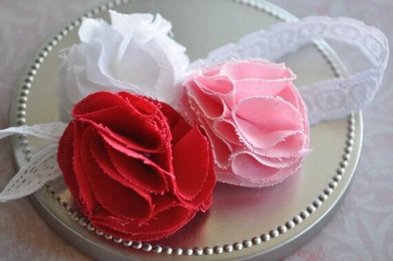 Valentine. ruffled roses headband