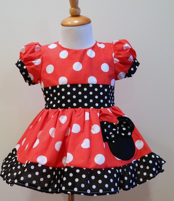 girls handmade minnie mouse puff sleeves dress 12m to 6y ebay. Black Bedroom Furniture Sets. Home Design Ideas