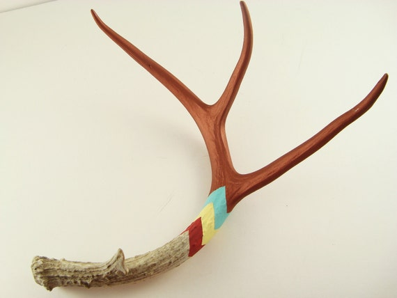 Large Naturally Shed Deer Antler Art Sculpture- Copper, Aqua, Pale Yellow, Red