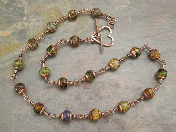 Libellula Jewelry:  copper heart toggle Czech glass necklace