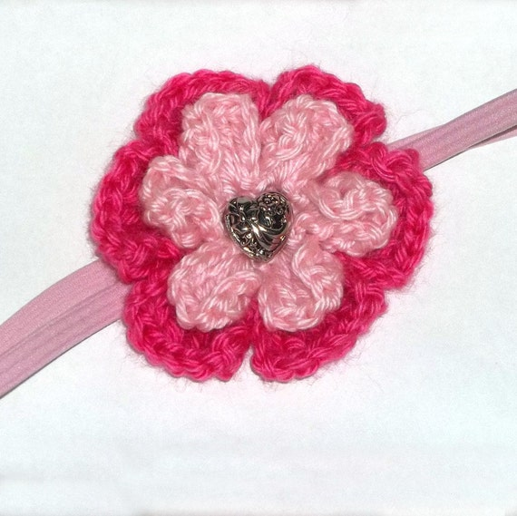 Headband Crocheted Pink Flower Heart Center
