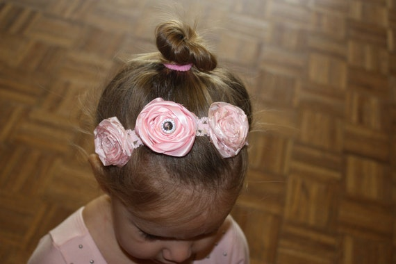 Pink Ribbon Rose Headband - toddler/child