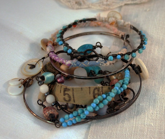Numbers and Buttons wrap Bracelet set - wrapped Gypsy Bangle Bracelets or Necklace