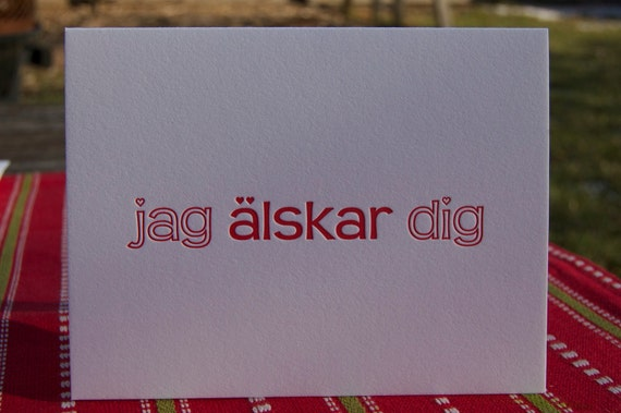 "Letterpress Swedish Valentine's Greeting Card ""I love you"" ""Jag älskar dig"""