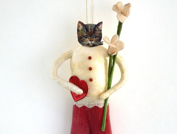 handcrafted valentine cat