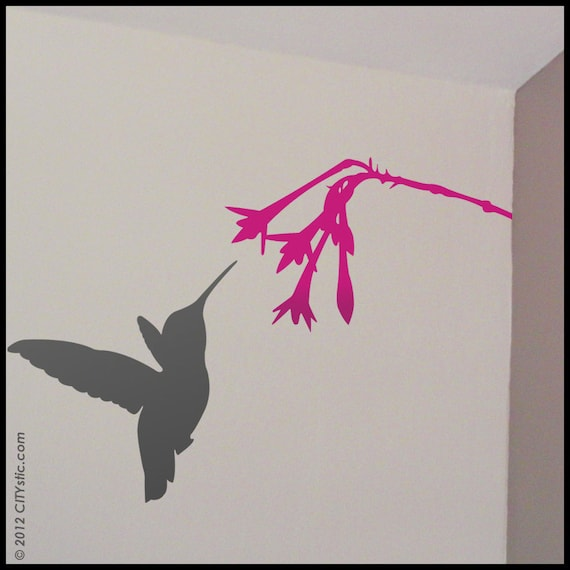 ANIMAL : Hummingbird gathering nectar from flower (v.1  in two pieces)  - WALL DECAL