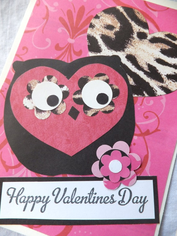 OWL Valentine's Cards, Anna Griffin Designer Papers, Hot Pinks, Zebra, Cheetah, Black and White