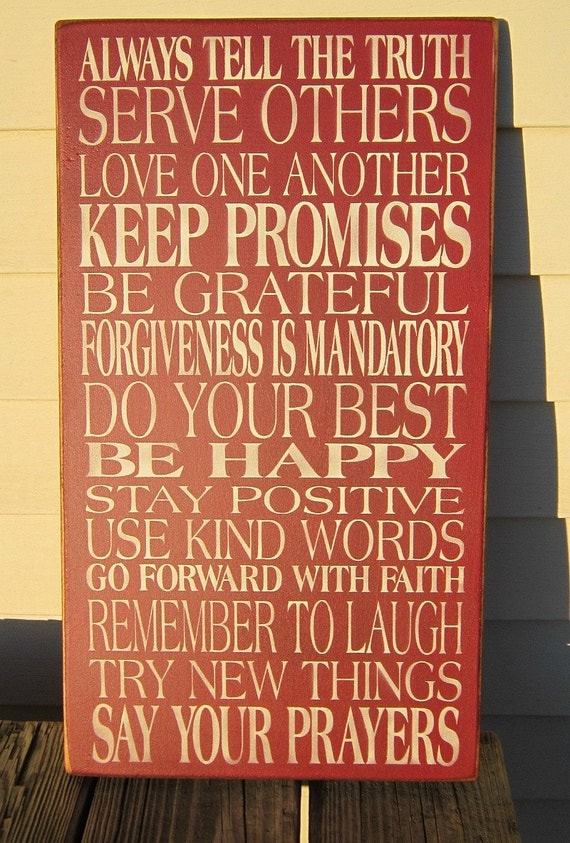 Primitive Wood Sign Family Values Always Tell The Truth in 28 color choices
