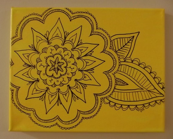 Yellow Flower Drawing on Canvas
