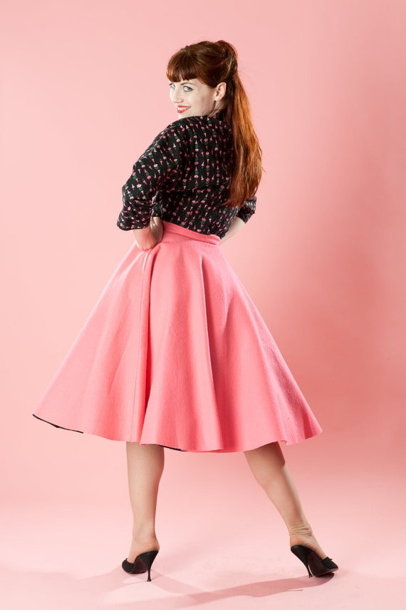 Vintage 1950s Pink Circle Skirt Wool Felt Full Rockabilly Winter Fashions