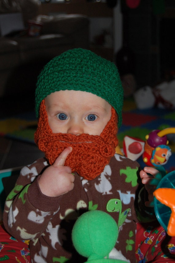 Ready To Ship St. Patrick's Day Inspired 6 to 12 Months Baby Beard Beanie Can Customize Size
