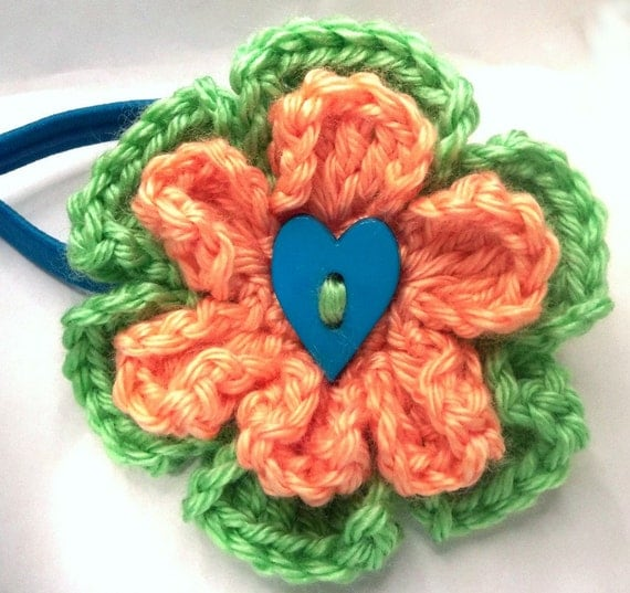 Headband Elastic Teal, Green, Orange Flower with Heart