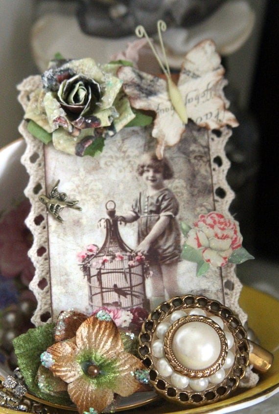 Embellished, Altered Hang Tag If I Had A Bird Gift Vintage Style Tag ATC