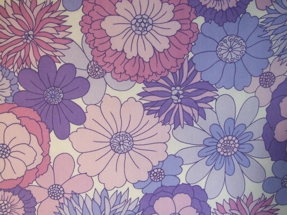 Vintage sheet fat quarter - purple flower power