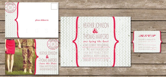 Wedding Invitation, Chevron Red