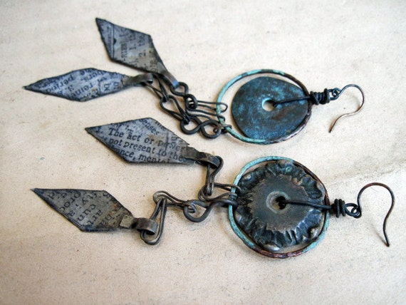 The Dead. Rustic Gypsy Tribal Asymmetrical Assemblage Dangles.
