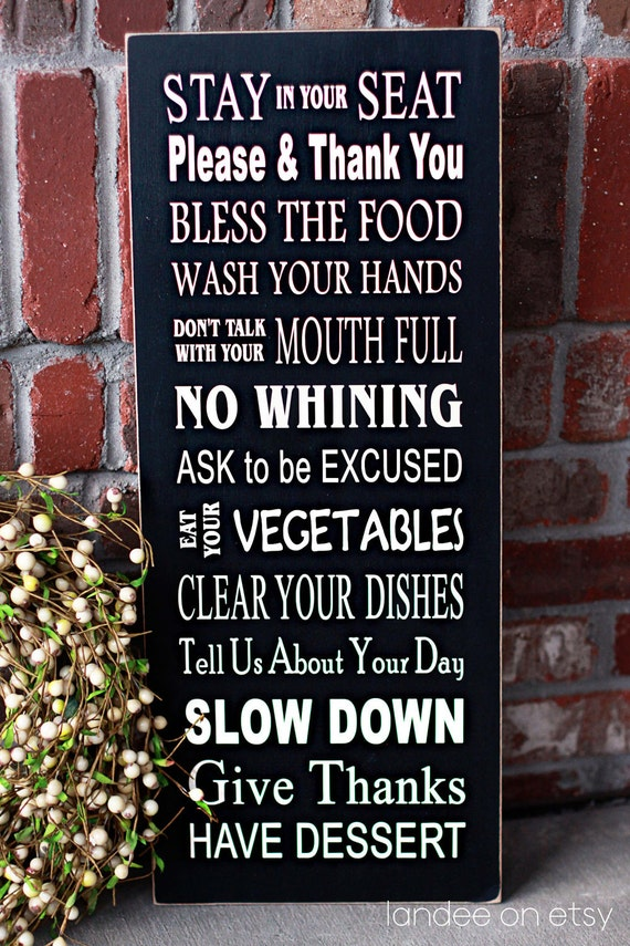 Dinner Table Rules Subway Art - wooden sign