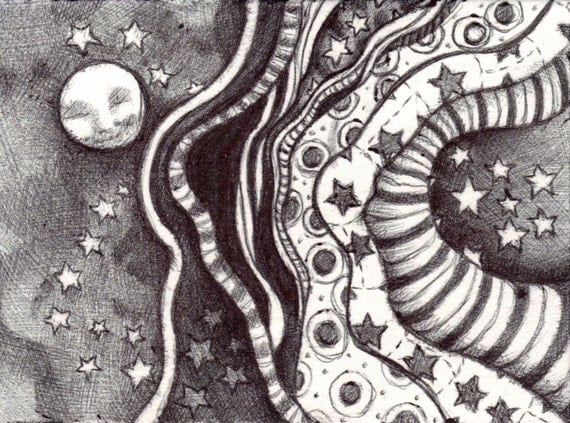 ACEO - Space-Time Continuum - Ballpoint Pen Drawing