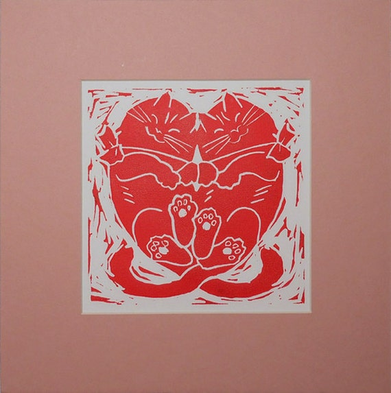 Love Cats snuggle in heart shape for Valentine's Day in this original relief print