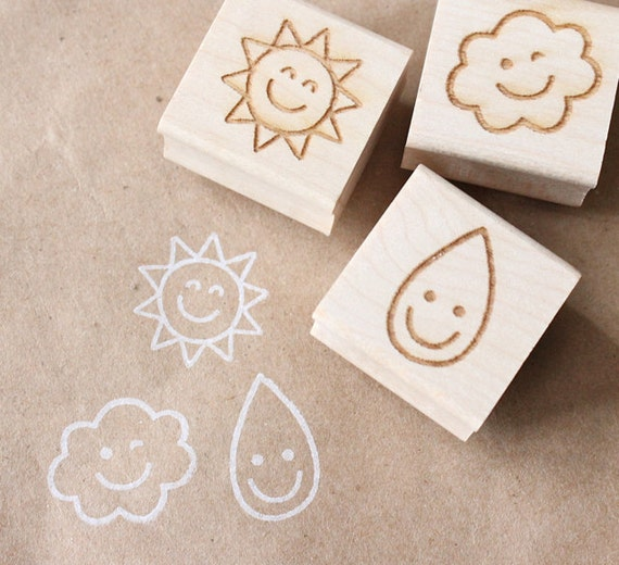 nice weather - wooden rubber stamp set