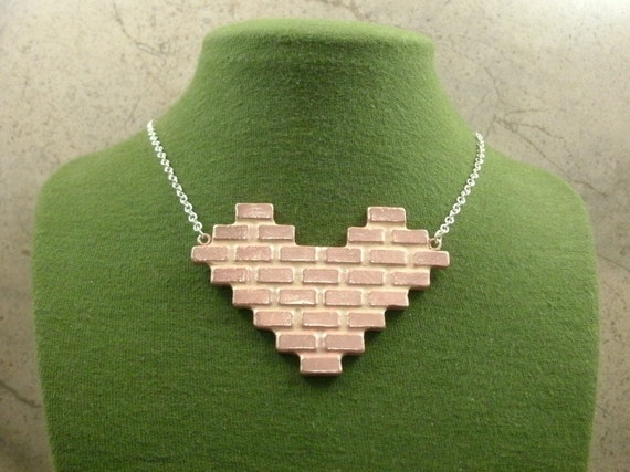 Heart Jewelry Valentine's Day Necklace Brick Wall Pendant Love Urban Industrial Utilitarian Pink Metal Valentine - 1-Off Series OOAK