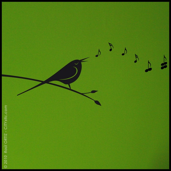 ANIMAL : Bird singing music notes becoming butterflies  - WALL DECAL - Kids, nursery, bedroom