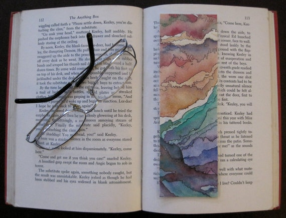 Handmade Original Watercolor Artwork and Colorful Zentangle, One of a Kind Double Sided Bookmark, Green, Pink Intricate Patterns