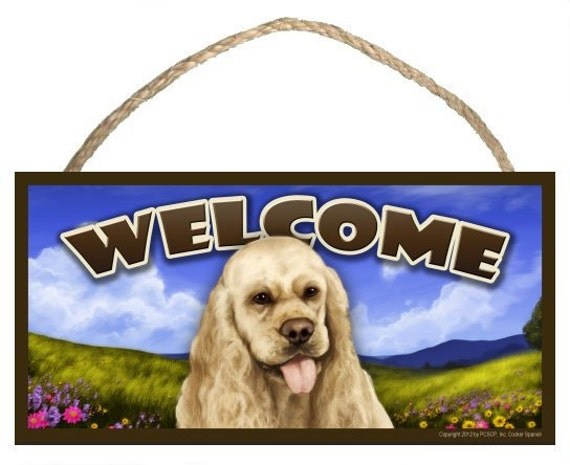 "Cocker Spaniel Spring Season 10"" x 5"" Welcome Sign"