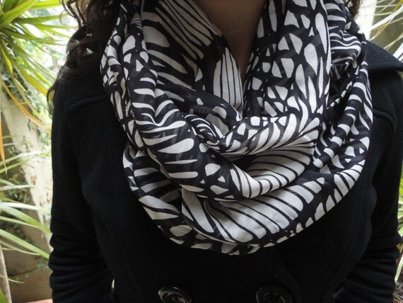 Black& White Chiffon Scarf ,Infinity Scarf, Chiffon Scarf ,Scarves wrap Scarf Accessory to your everyday outfit.Gift for Her