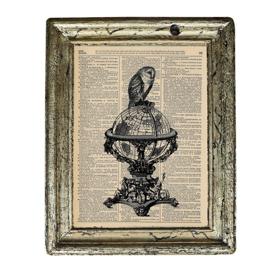 Navigating the Globe Black and White Owl Print on an Antique Upcycled Bookpage