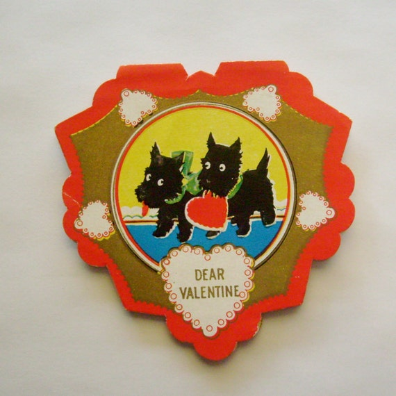 Vintage Valentine's Day Card heart shaped scotty dogs