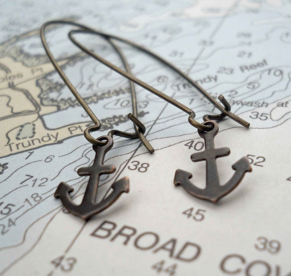 Anchor Charm Earrings in Antique Bronze, Nautical Jewelry