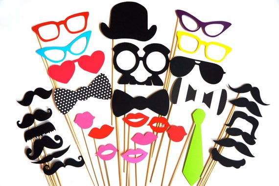 SALE - Cool Photo Booth Prop Set - 32 pieces on a stick - Birthdays, Weddings, Parties - Great Photobooth Props
