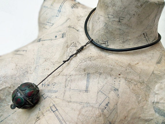 Dwell in Memory's Delights. Bold Antique and Contemporary Choker with Enameled Tribal Egg Bead Talisman..