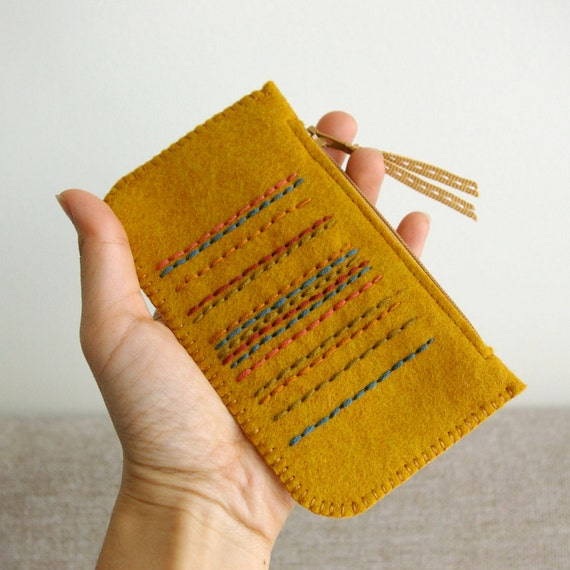 Cajun in Spice Market: Made To Order Hand Embroidered Wool Felt Coin Purse or iPhone Cozy by LoftFullOfGoodies