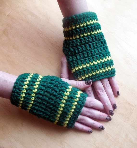 Fingerless Gloves Crocheted Green Bay Packers