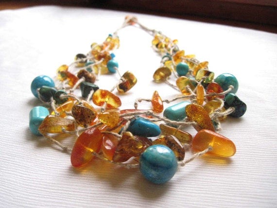 Amber Turquoise Necklace, Linen Necklace, Sea Story, Baltic Amber, Turquoise,  Blue, Teal, Honey, Yellow