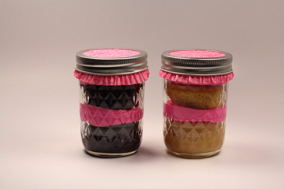 Two (2) 8 oz Chocolate and Vanilla Cupcake Jars